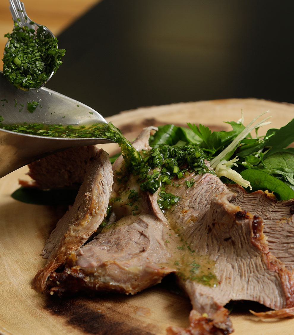 Sliced Lamb with Mint sauce and Garnish