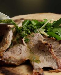Roasted Lamb with fresh Mint Sauce and Garnish