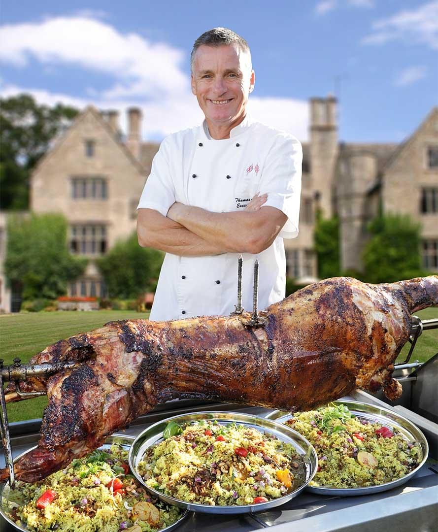 Tom with Ouzi Lamb Spit Roast